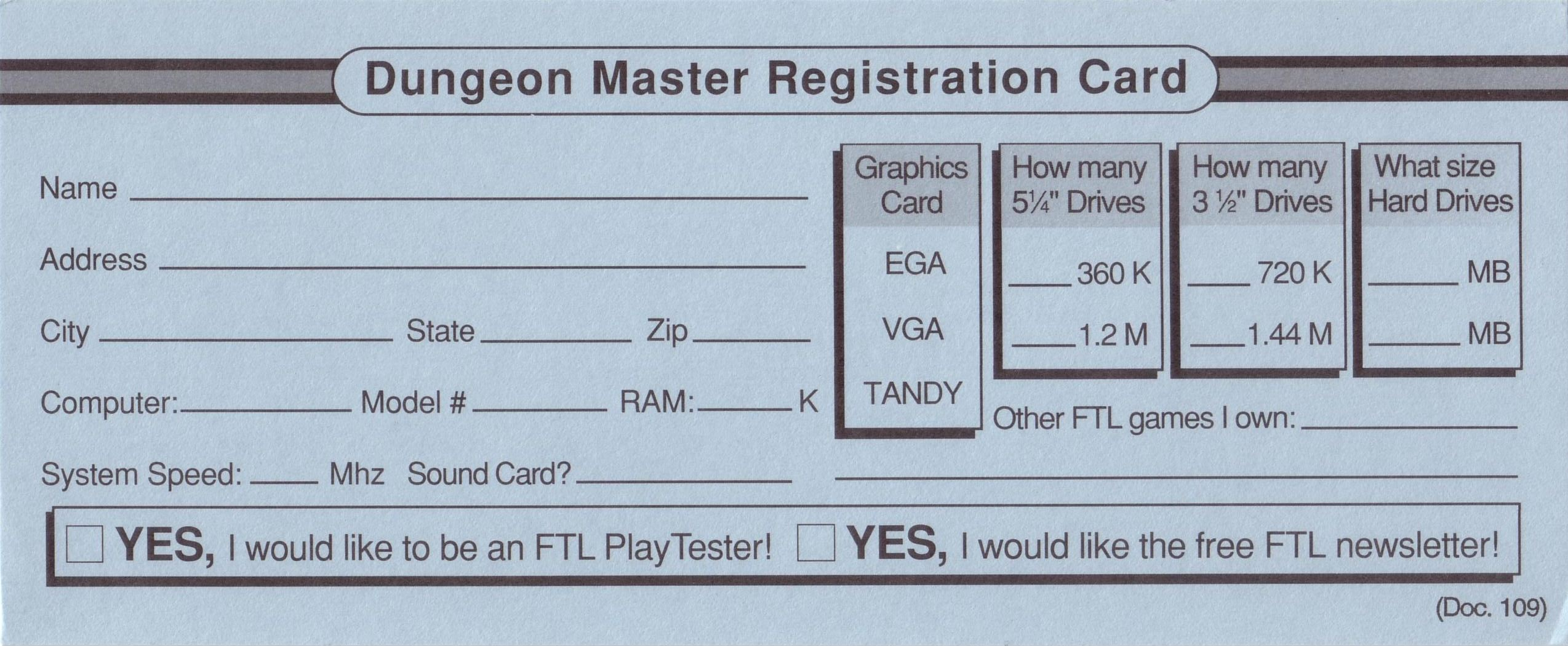 Dungeon Master for PC with FTL Sound Adapter (US Release) - Registration Card Back