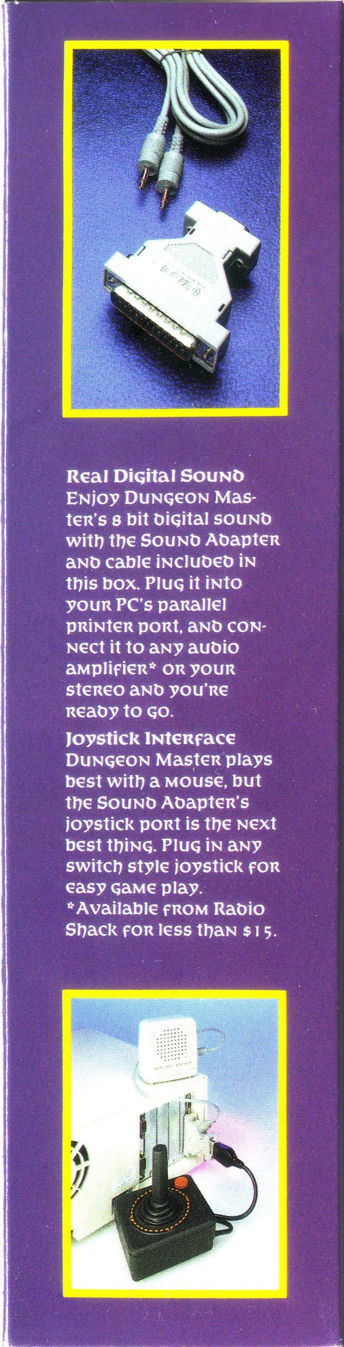 Dungeon Master for PC with FTL Sound Adapter (US Release) - Sound Adapter Box Back
