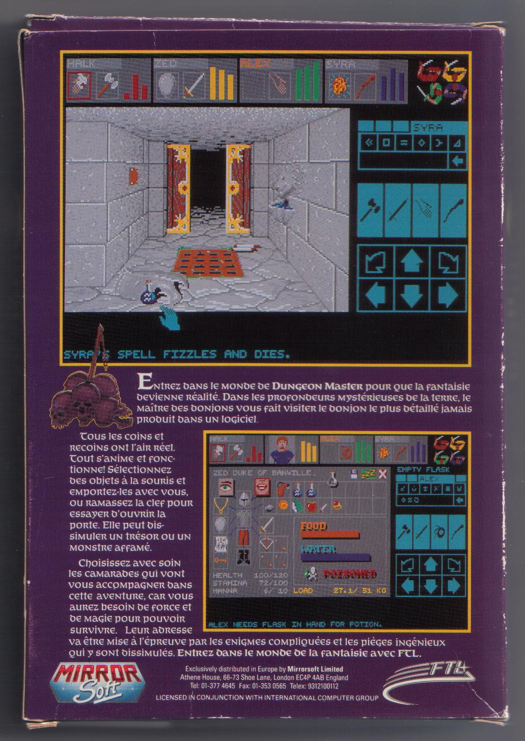 Dungeon Master for Amiga (French) - Box Back