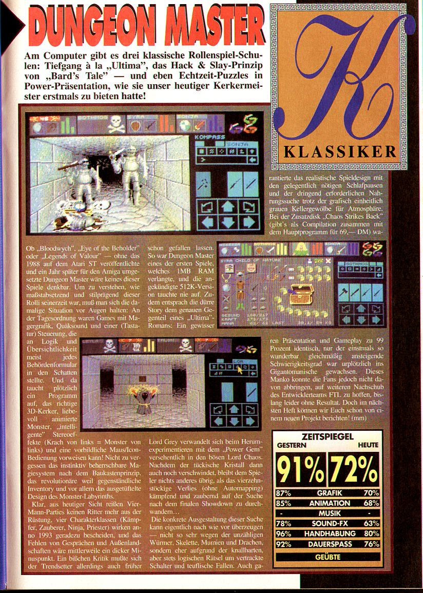 Dungeon Master for Amiga Review published in German magazine 'Amiga Joker', March 1993, Page 101