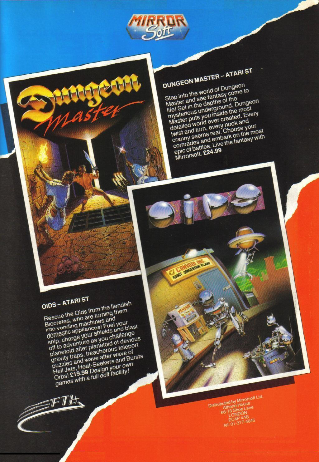 Dungeon Master for Atari ST Advertisement published in British magazine 'Advanced Computer Entertainment (ACE)', Issue #8, May 1988, Page 25