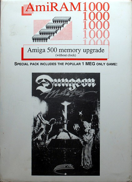 Dungeon Master for Amiga bundled with AmiRAM (Alternate) - Box Front