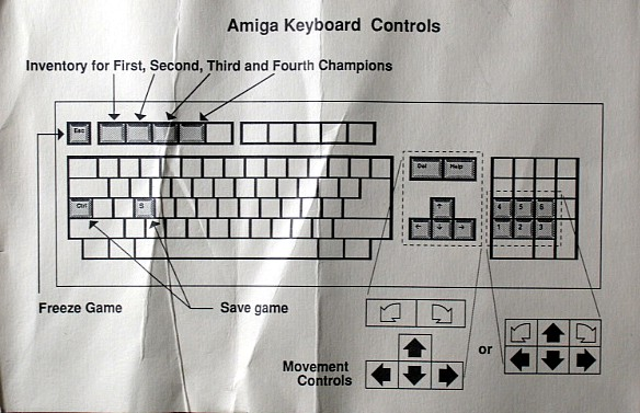 Dungeon Master for Amiga bundled with AmiRAM (Alternate) - Keyboard Controls