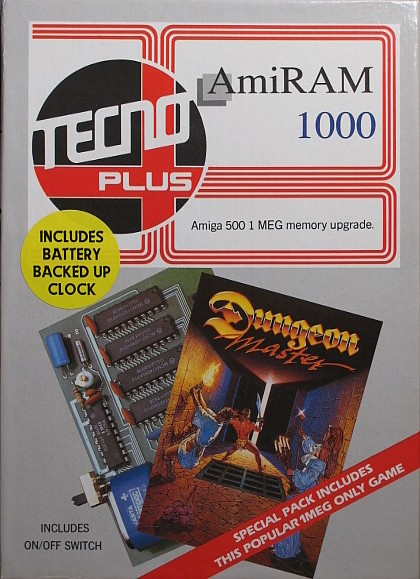 Dungeon Master for Amiga bundled with AmiRAM - Box Front