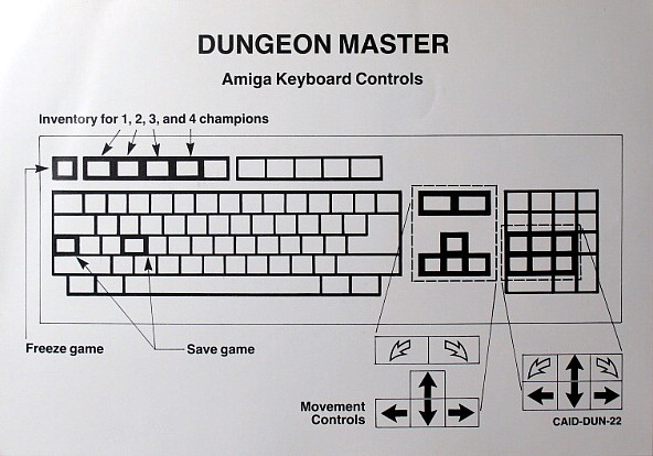 Dungeon Master for Amiga bundled with AmiRAM - Keyboard Controls