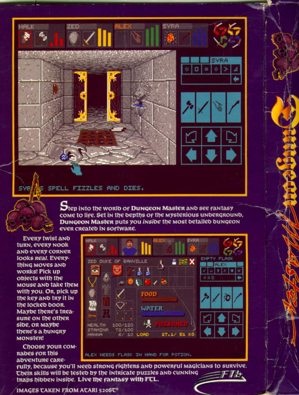 Dungeon Master for Amiga (Original release) - Box Back and Side