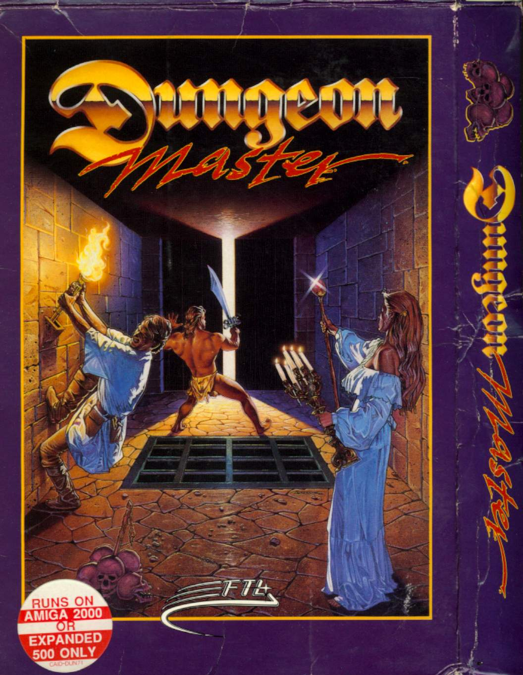 Dungeon Master for Amiga (Original release) - Box Front and Side