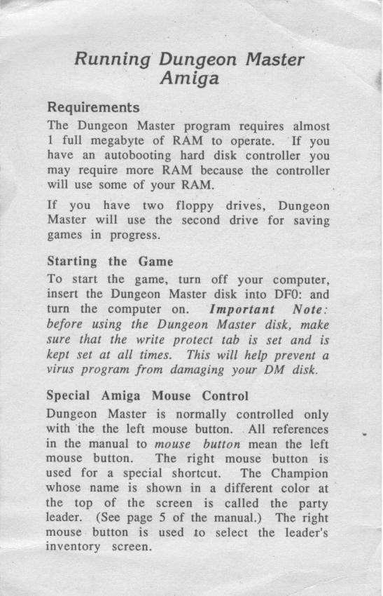 Dungeon Master for Amiga - Running Note