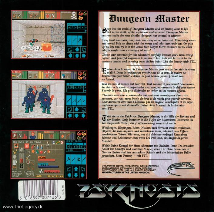 Dungeon Master and Chaos Strikes Back for Amiga (Europe, Psygnosis) - Box Back