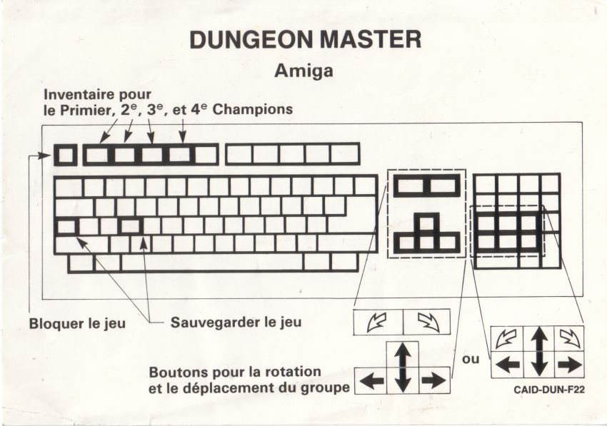 Dungeon Master for Amiga - Version 2.0 French Keyboard controls (Alternate)