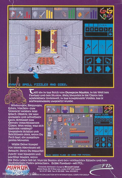 Dungeon Master for Amiga (German) - Box Back