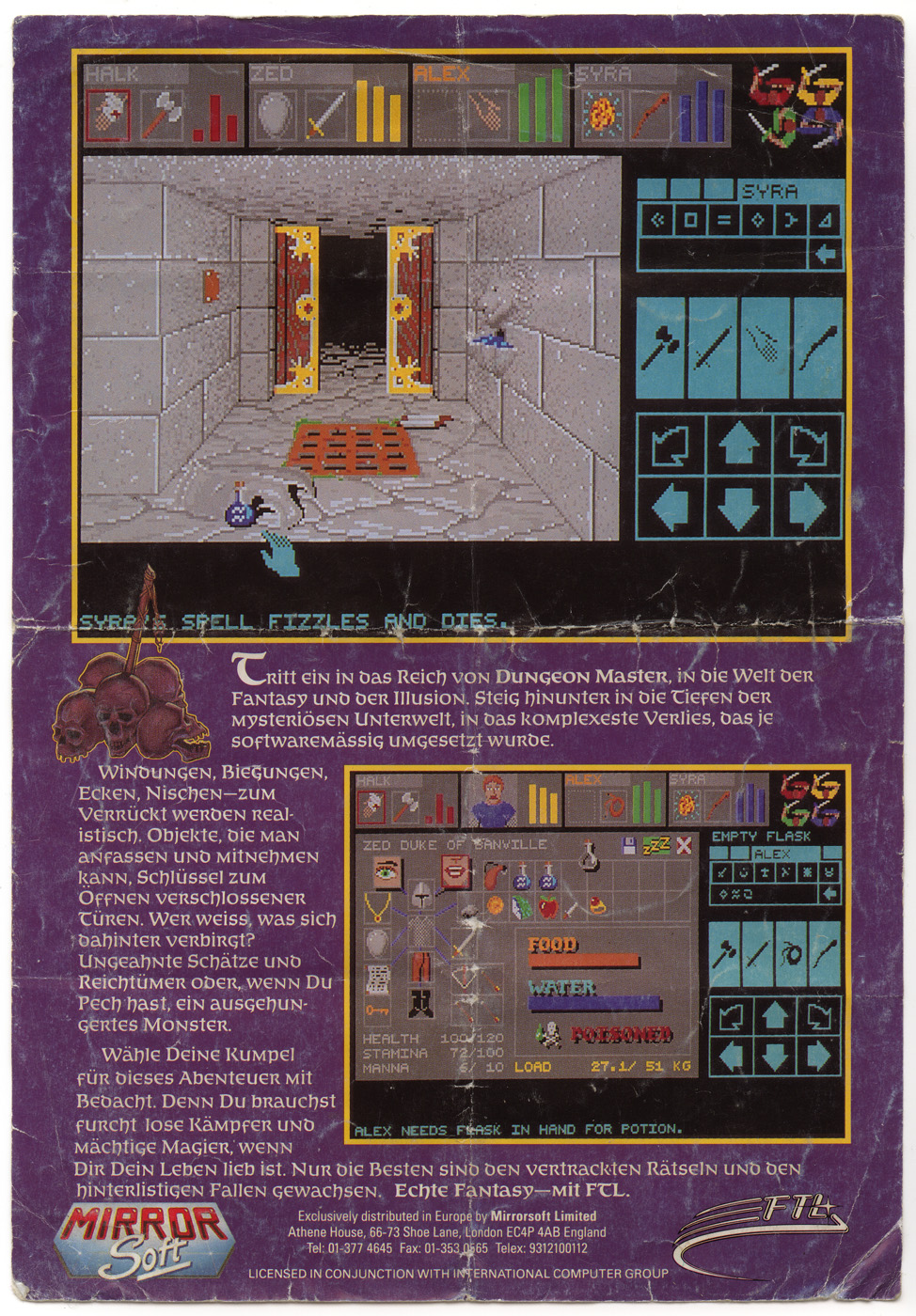 Dungeon Master for Amiga (English, Germany) - Booklet