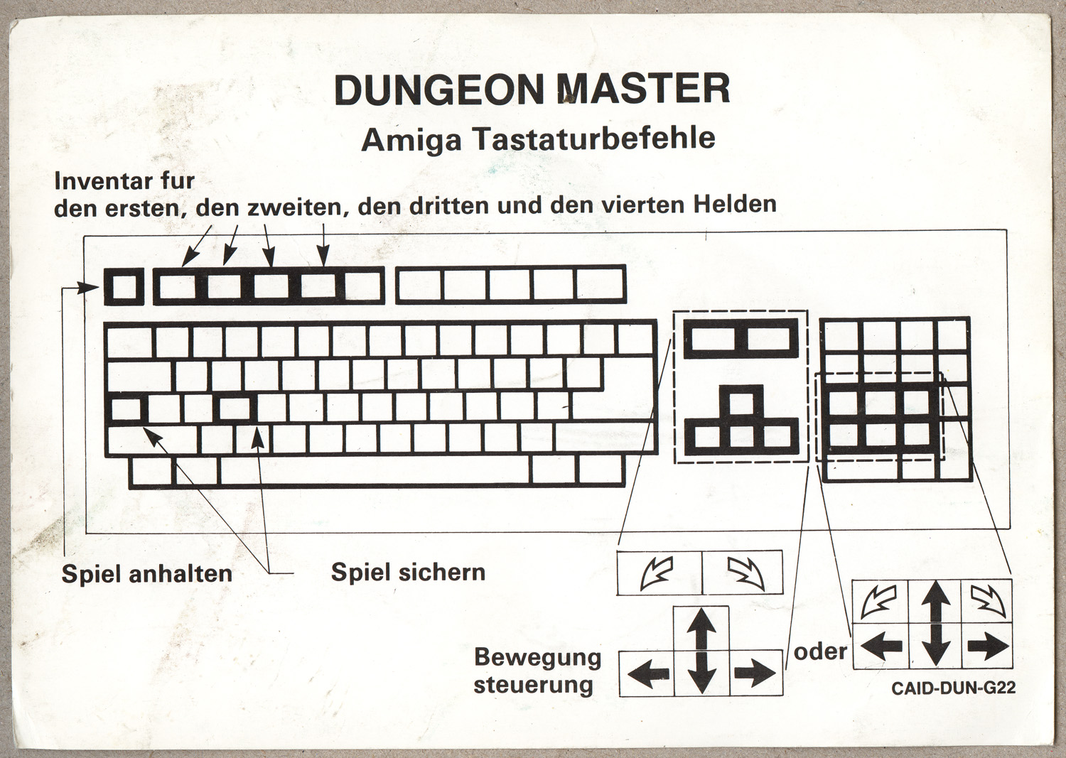 Dungeon Master for Amiga (English, Germany) - KeyboardControls