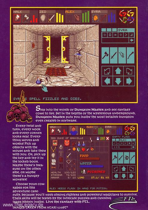 Dungeon Master for Amiga (English, Germany) - Box Back