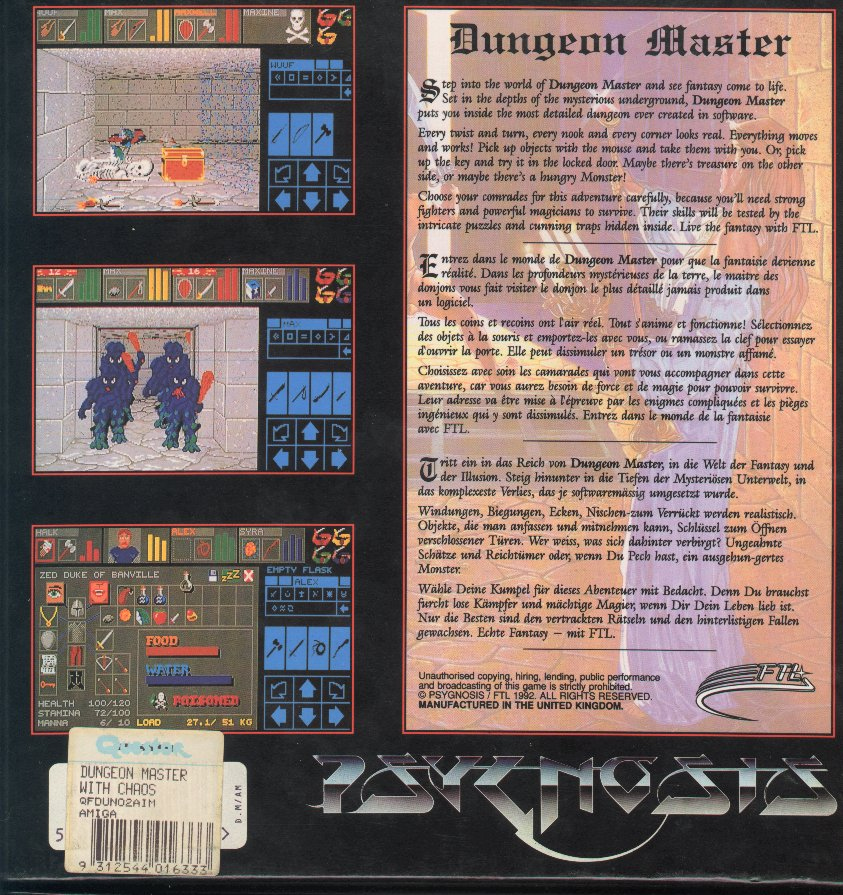 Dungeon Master and Chaos Strikes Back Compilation for Amiga - Box Back