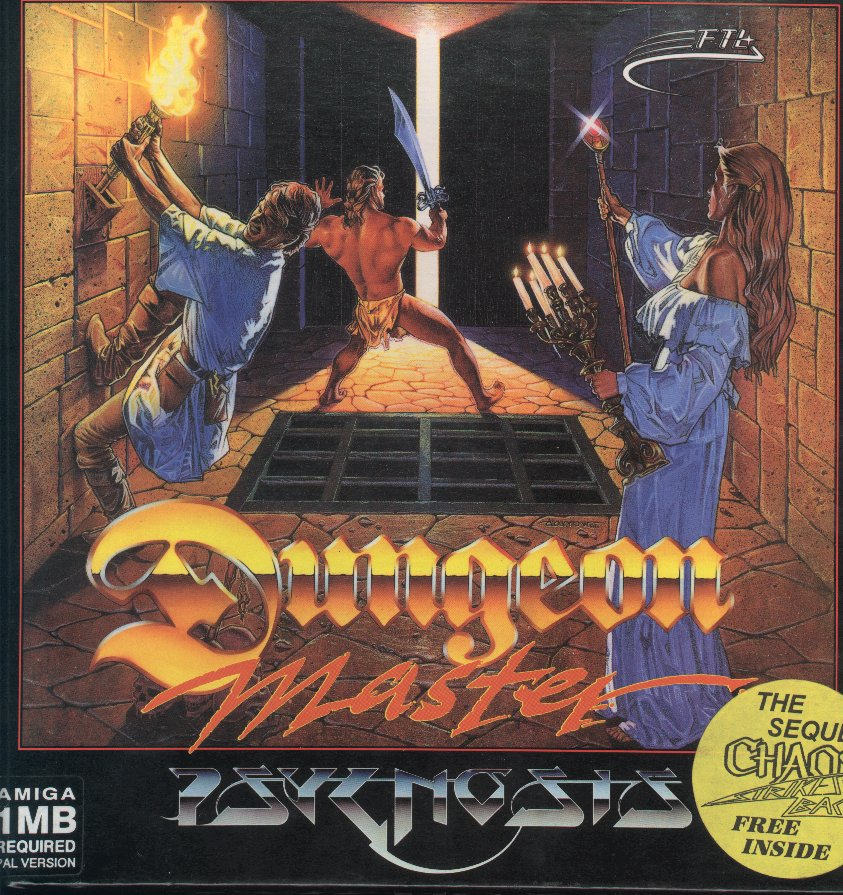 Dungeon Master and Chaos Strikes Back Compilation for Amiga - Box Front