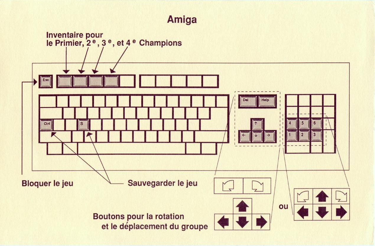 Dungeon Master for Amiga v3.6 (French, Psygnosis) - Keyboard Controls