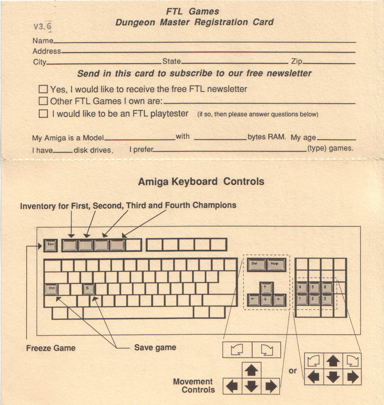Dungeon Master for Amiga (Version 3.6 US) - Notes Back