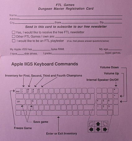 Dungeon Master for Apple IIGS - Registration Card
