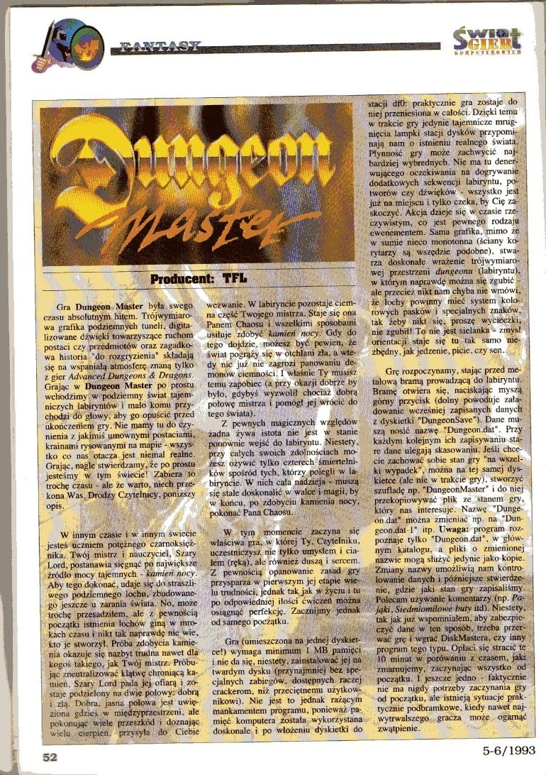 Dungeon Master Article published in Polish magazine 'Świat Gier Komputerowych', Issue #4, May-June 1993, Pages 52