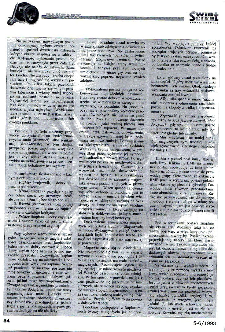 Dungeon Master Article published in Polish magazine 'Świat Gier Komputerowych', Issue #4, May-June 1993, Pages 54