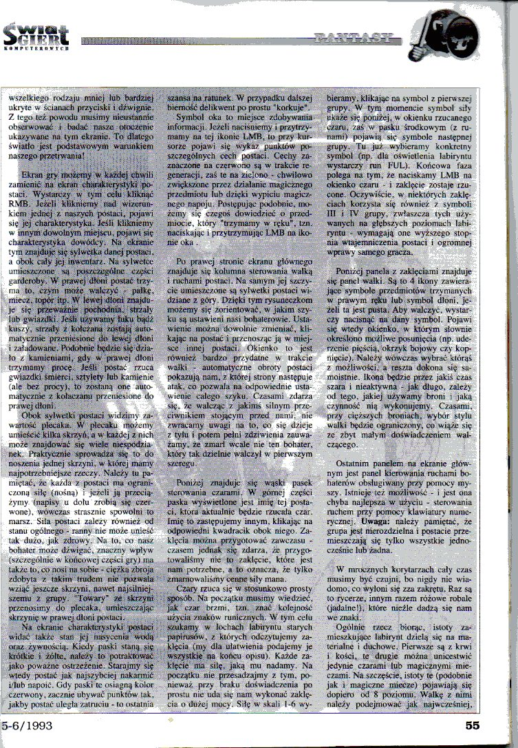 Dungeon Master Article published in Polish magazine 'Świat Gier Komputerowych', Issue #4, May-June 1993, Pages 55
