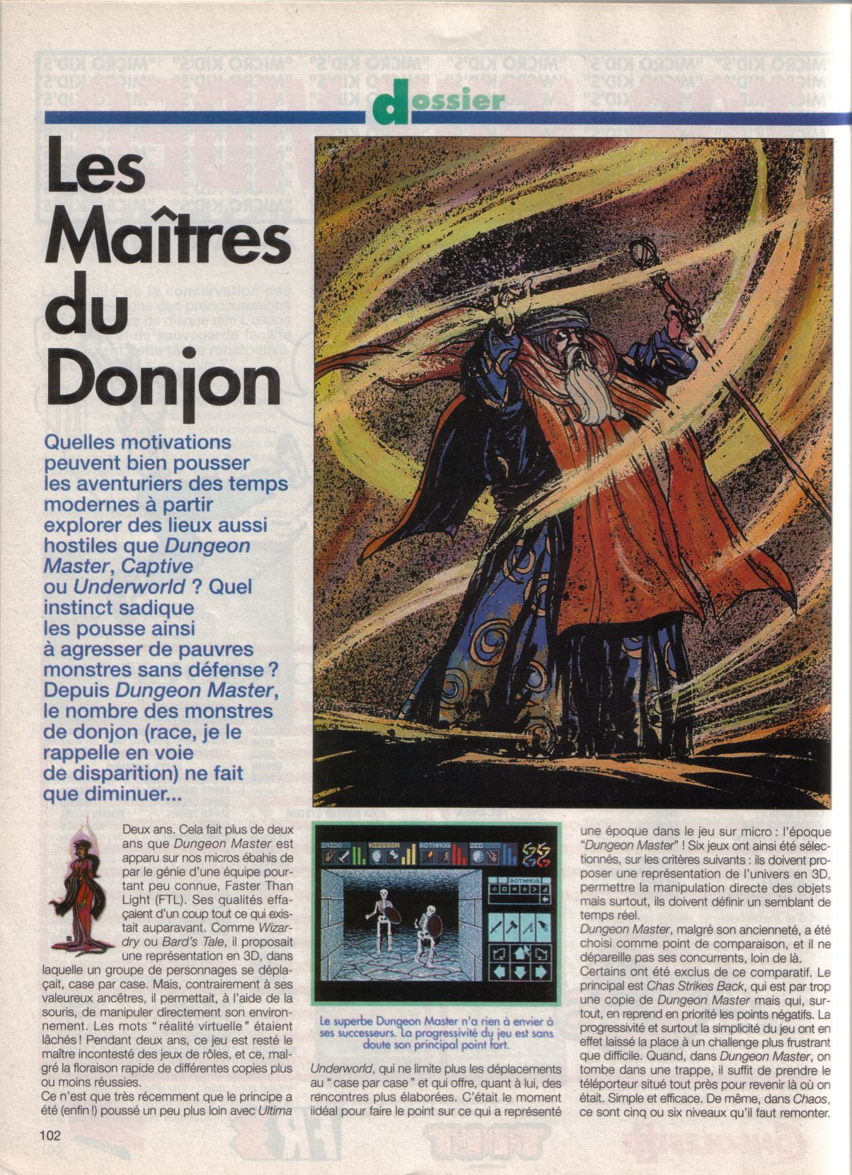 Dungeon Master Article published in French magazine 'Tilt', Issue #105, September 1992, Page 102