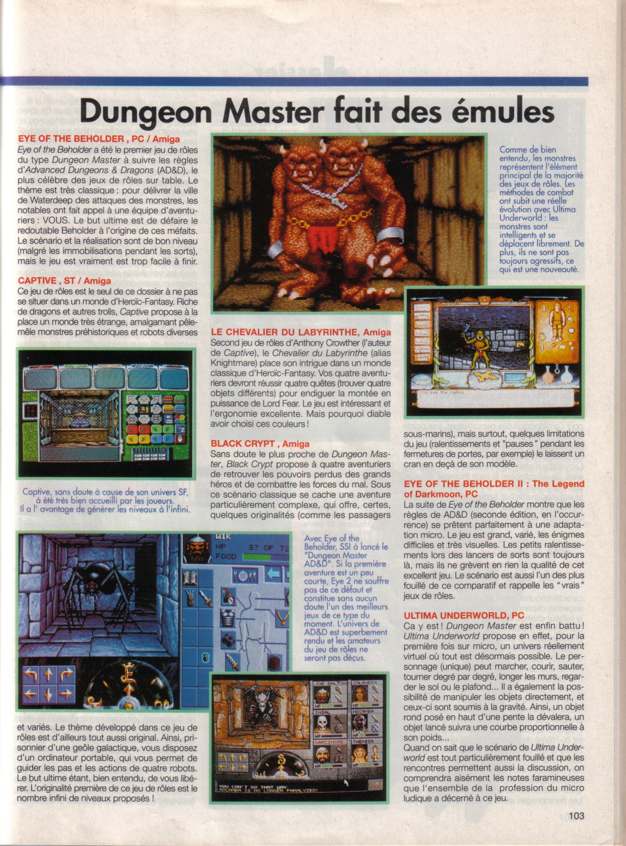 Dungeon Master Article published in French magazine 'Tilt', Issue #105, September 1992, Page 103