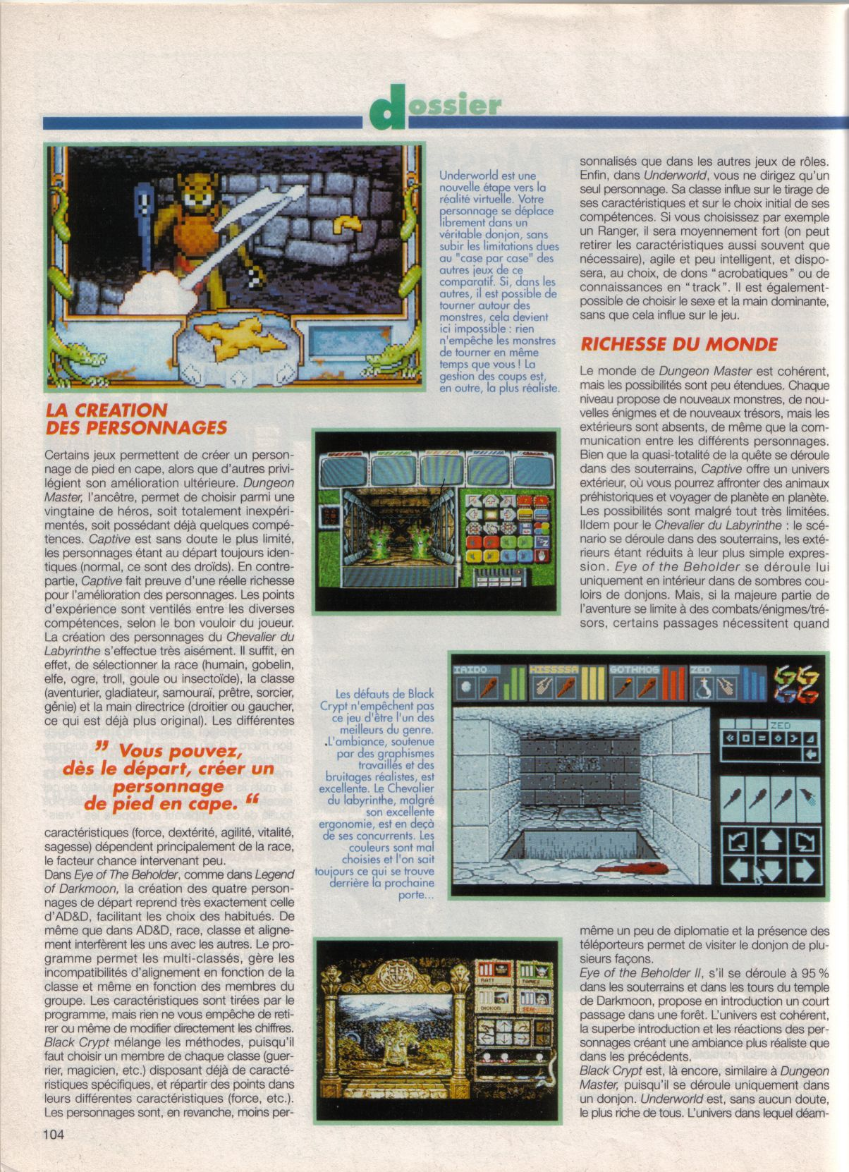 Dungeon Master Article published in French magazine 'Tilt', Issue #105, September 1992, Page 104