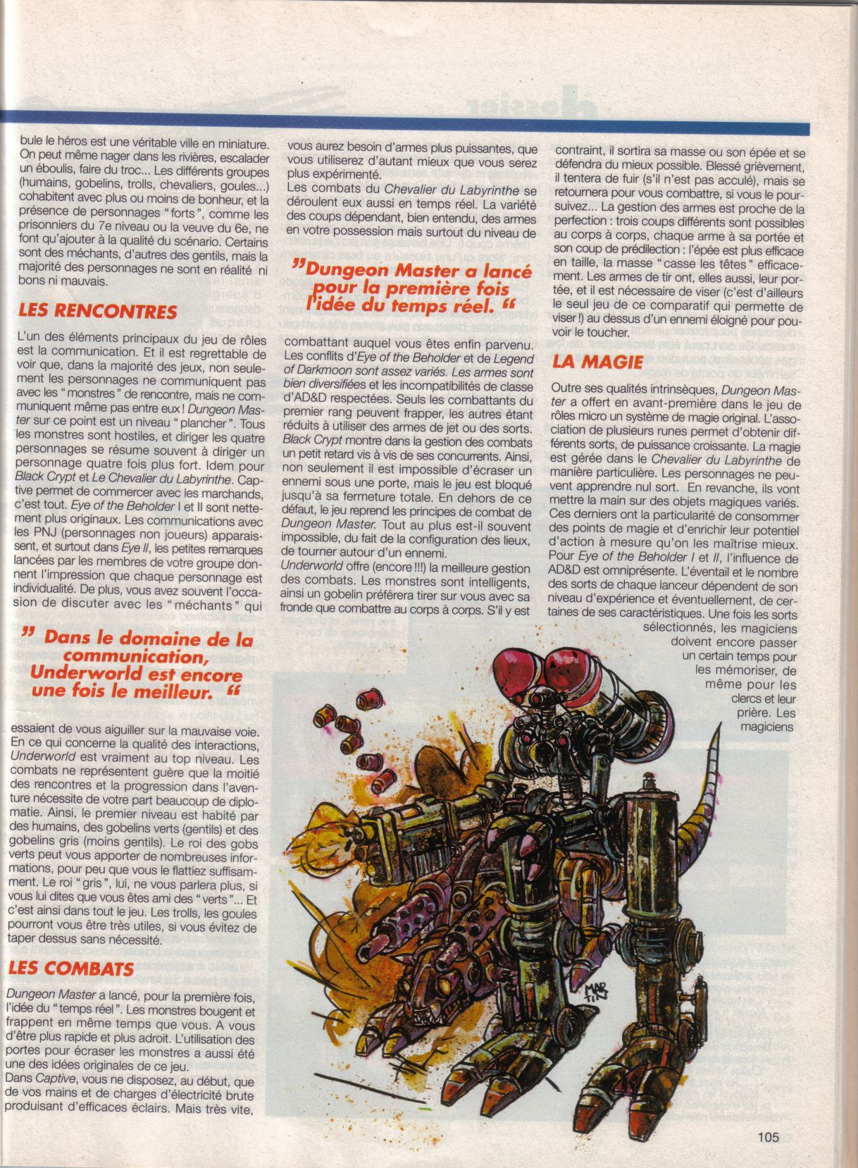 Dungeon Master Article published in French magazine 'Tilt', Issue #105, September 1992, Page 105