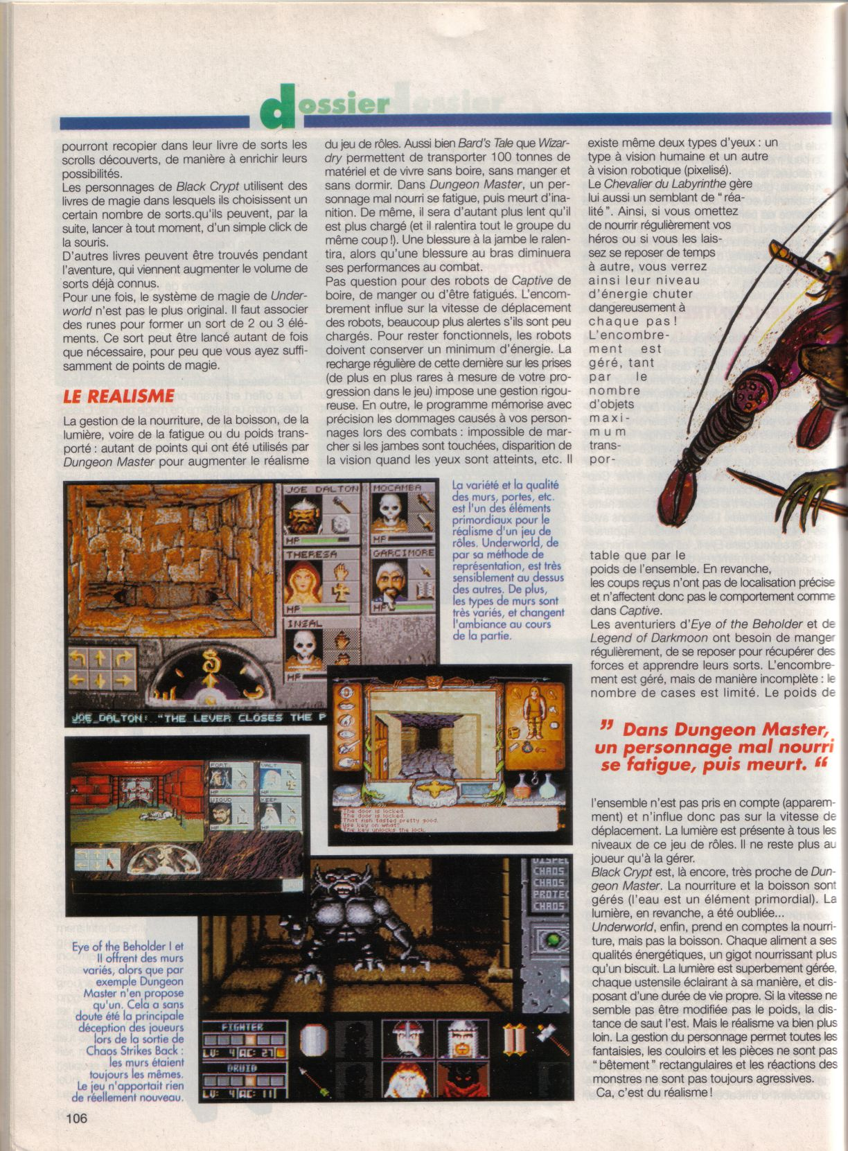 Dungeon Master Article published in French magazine 'Tilt', Issue #105, September 1992, Page 106