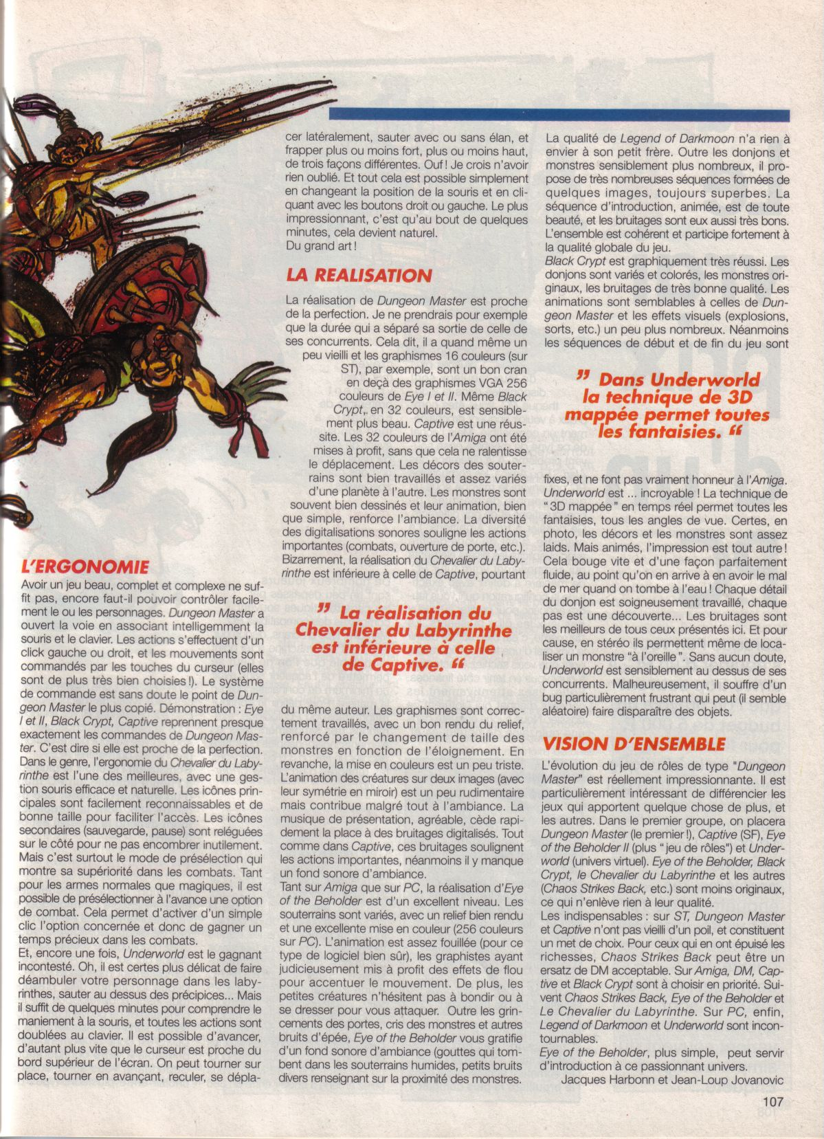 Dungeon Master Article published in French magazine 'Tilt', Issue #105, September 1992, Page 107