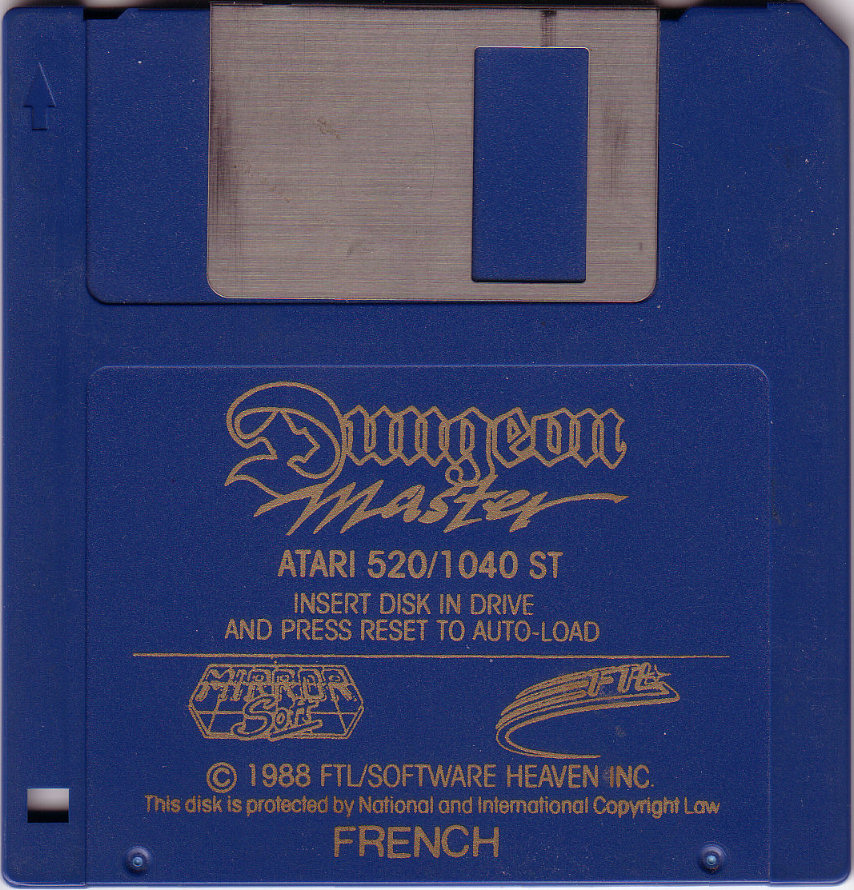 Dungeon Master for Atari ST (Europe, French, MirrorSoft) - Disk