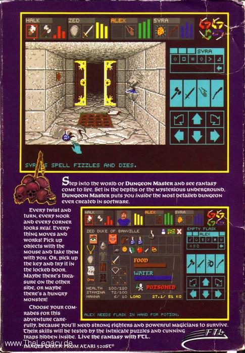 Dungeon Master for Atari ST (US) - Box Back