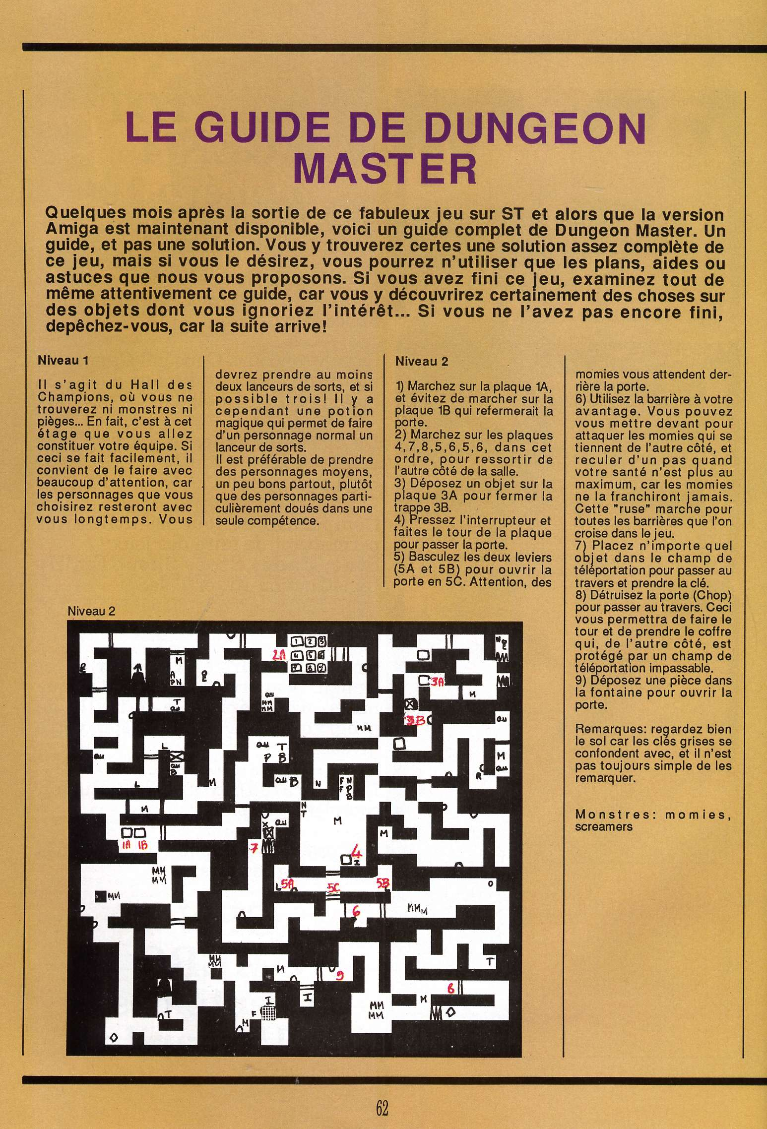 Dungeon Master for Atari ST Guide published in French magazine 'Gen4', Issue #9, March 1989, Page 62