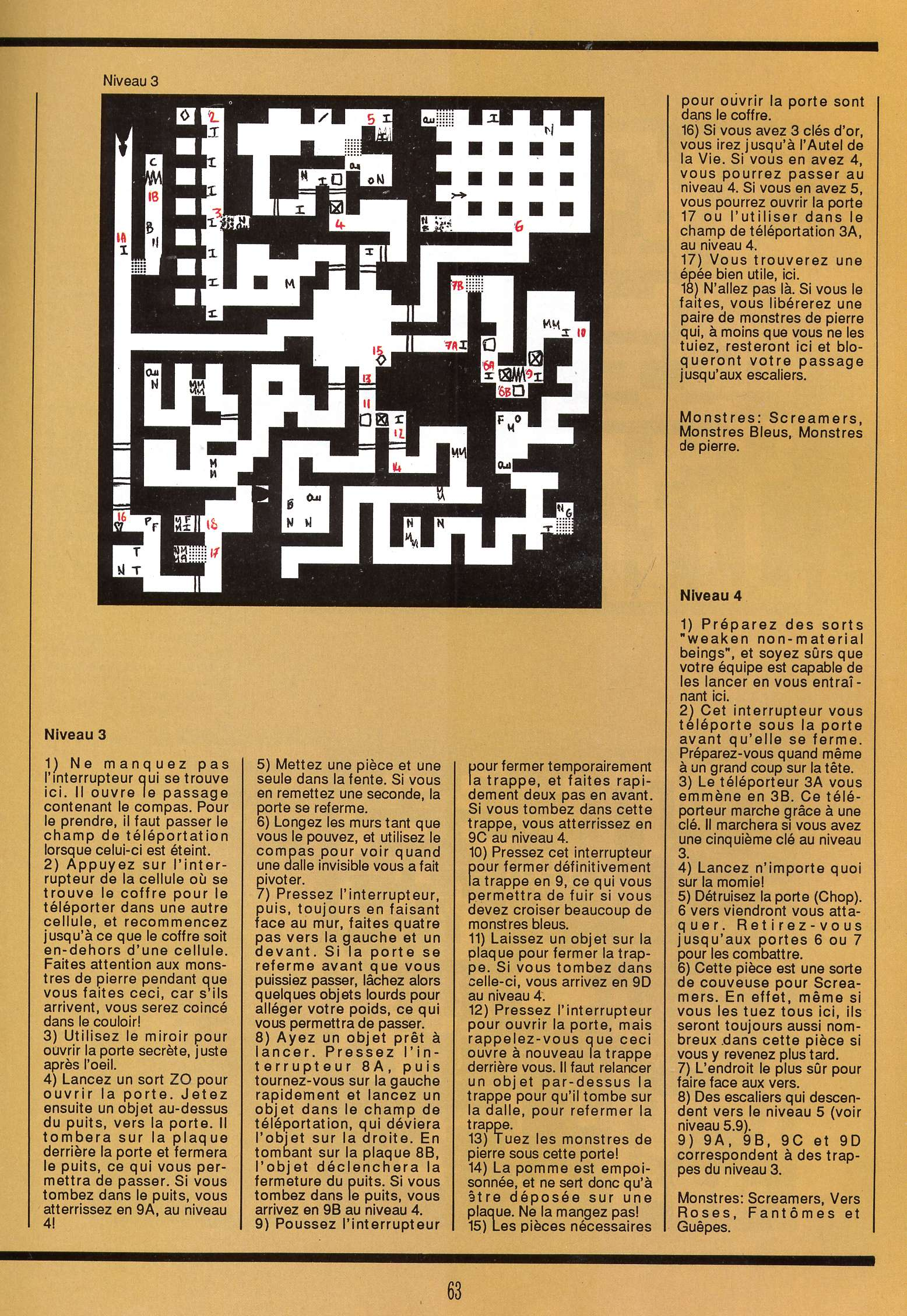 Dungeon Master for Atari ST Guide published in French magazine 'Gen4', Issue #9, March 1989, Page 63