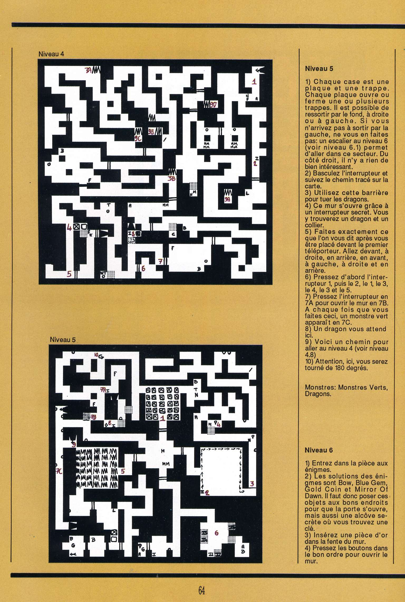 Dungeon Master for Atari ST Guide published in French magazine 'Gen4', Issue #9, March 1989, Page 64