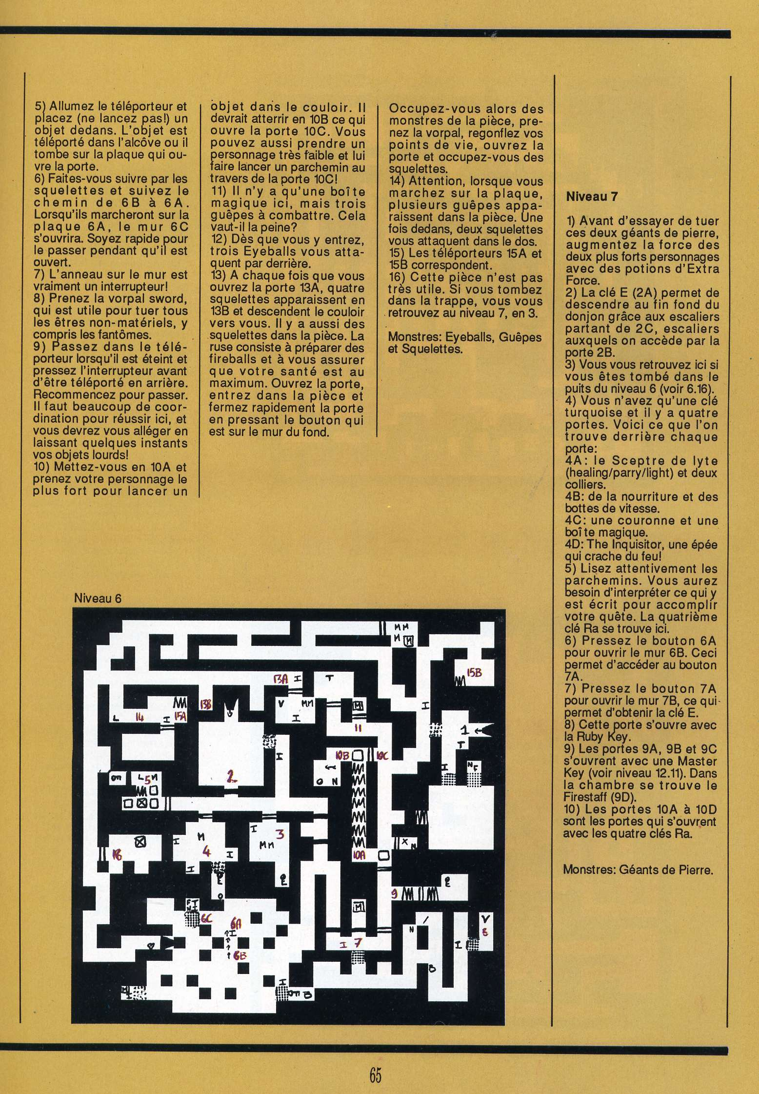 Dungeon Master for Atari ST Guide published in French magazine 'Gen4', Issue #9, March 1989, Page 65