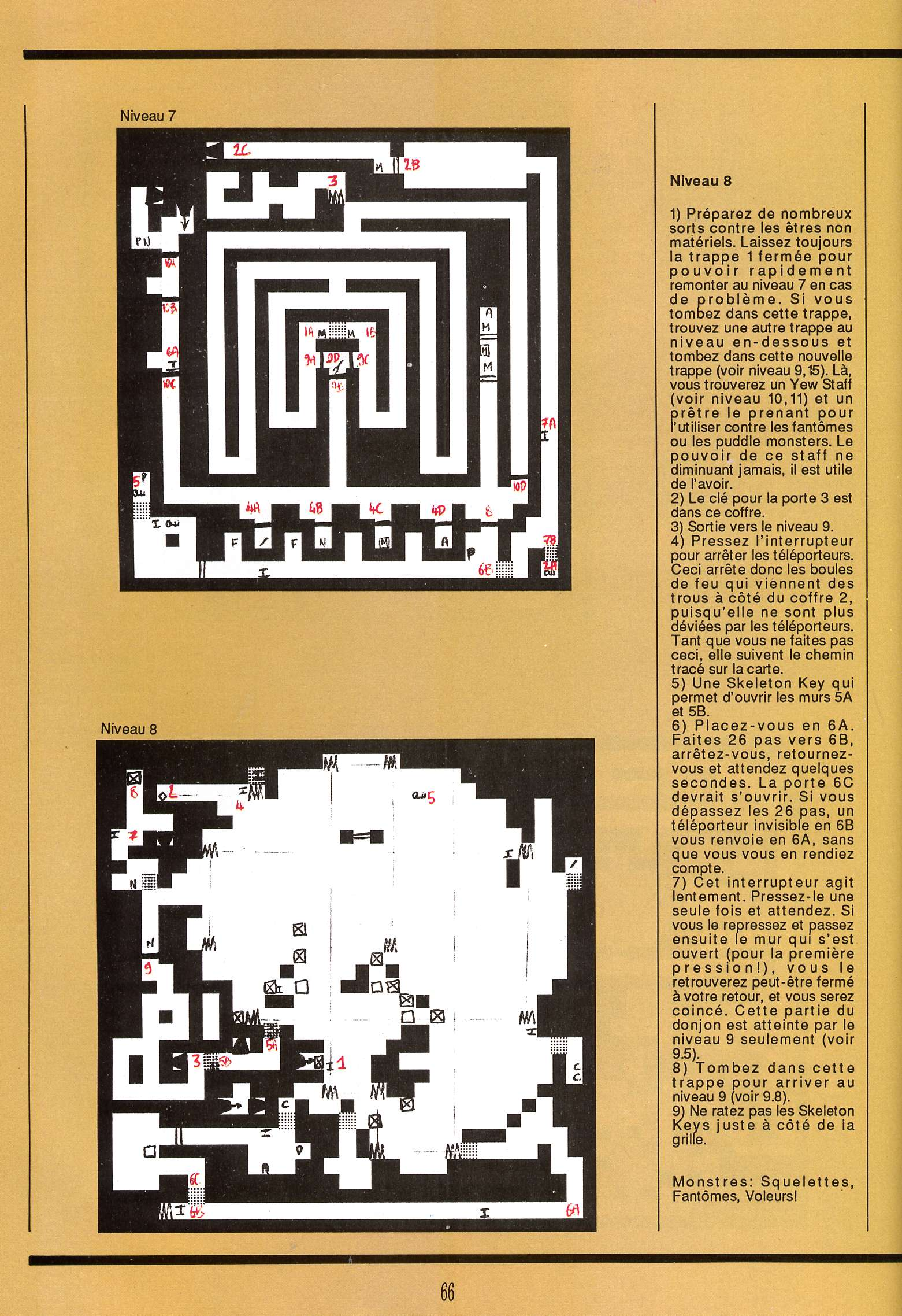 Dungeon Master for Atari ST Guide published in French magazine 'Gen4', Issue #9, March 1989, Page 66
