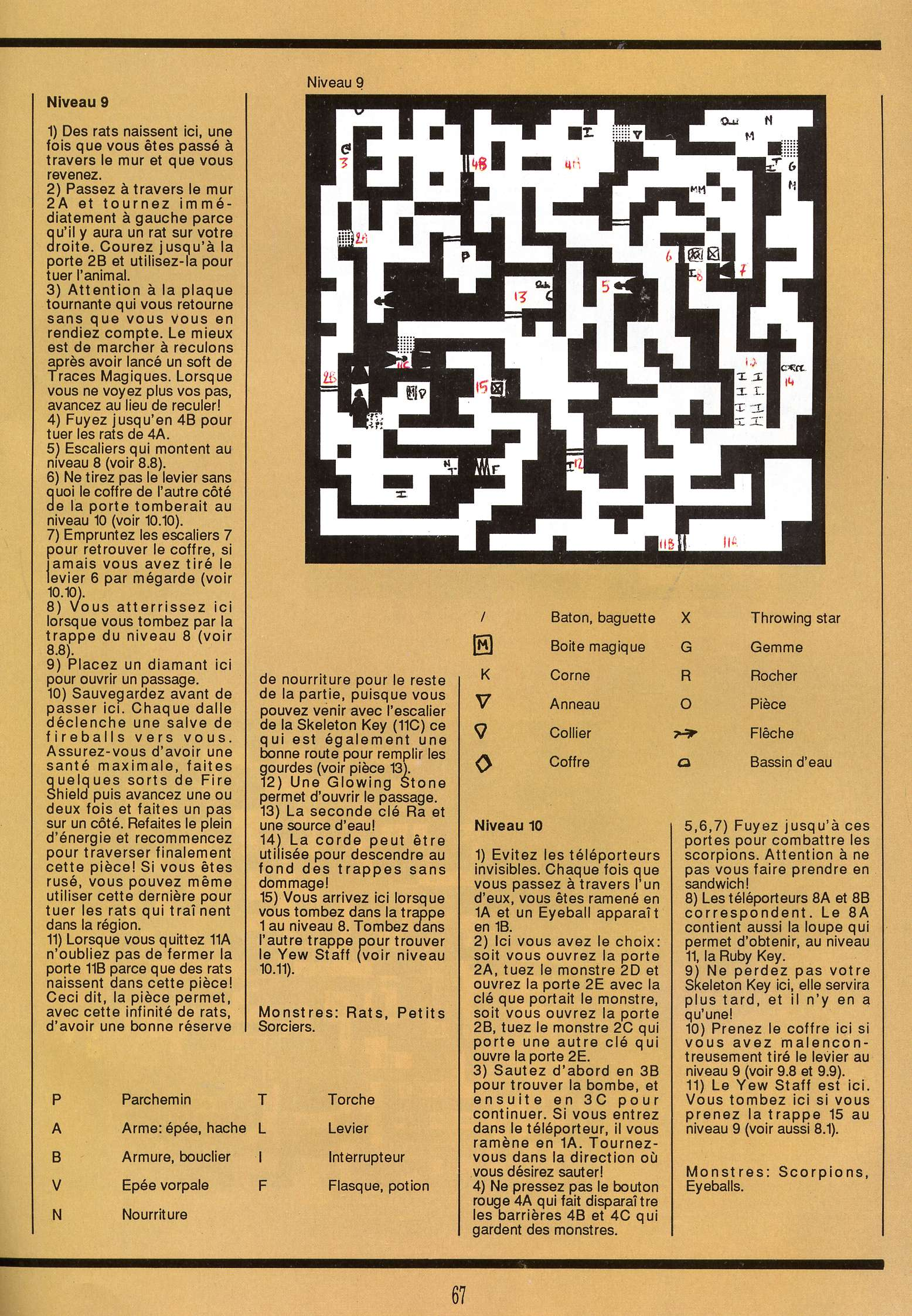 Dungeon Master for Atari ST Guide published in French magazine 'Gen4', Issue #9, March 1989, Page 67