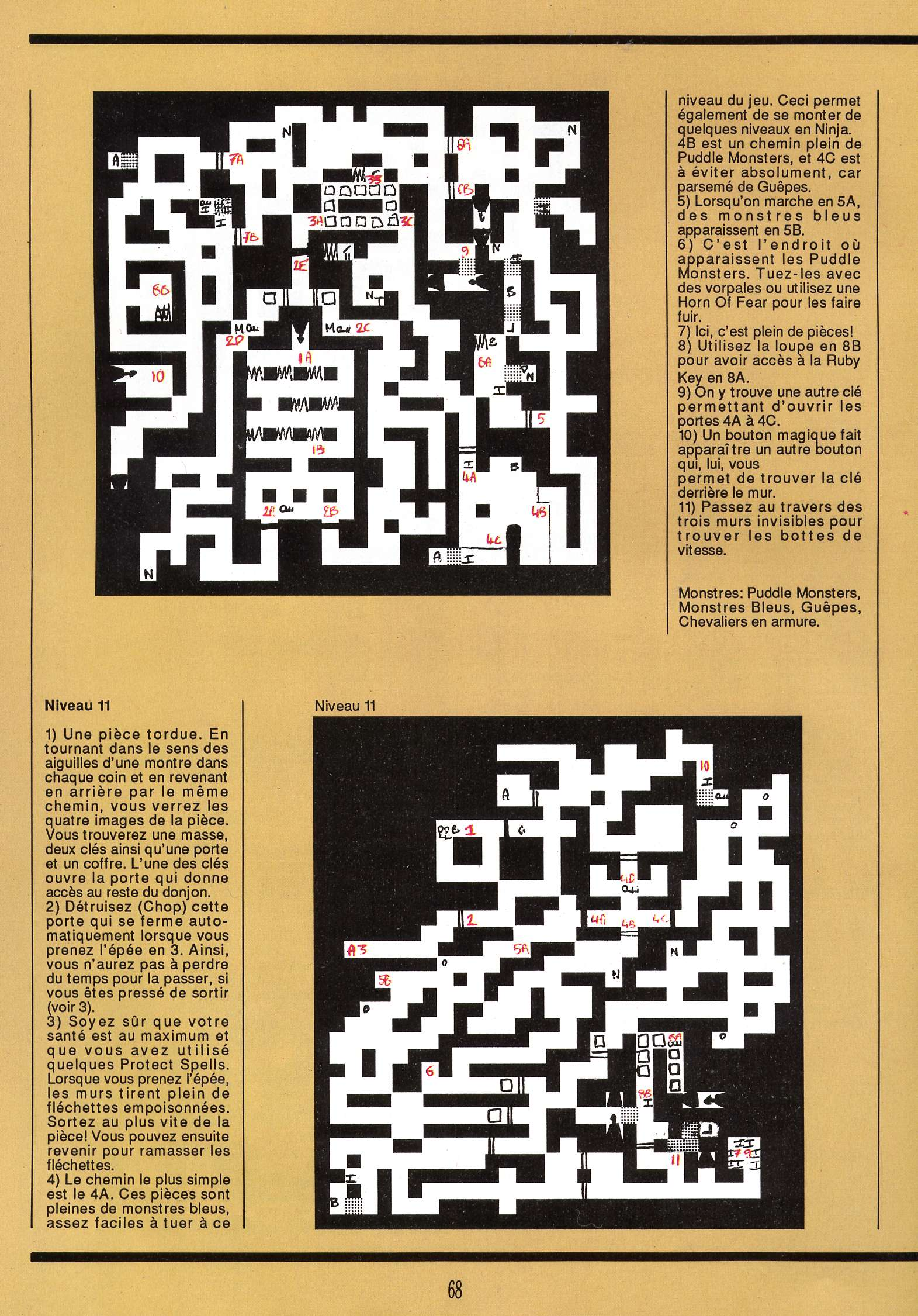Dungeon Master for Atari ST Guide published in French magazine 'Gen4', Issue #9, March 1989, Page 68