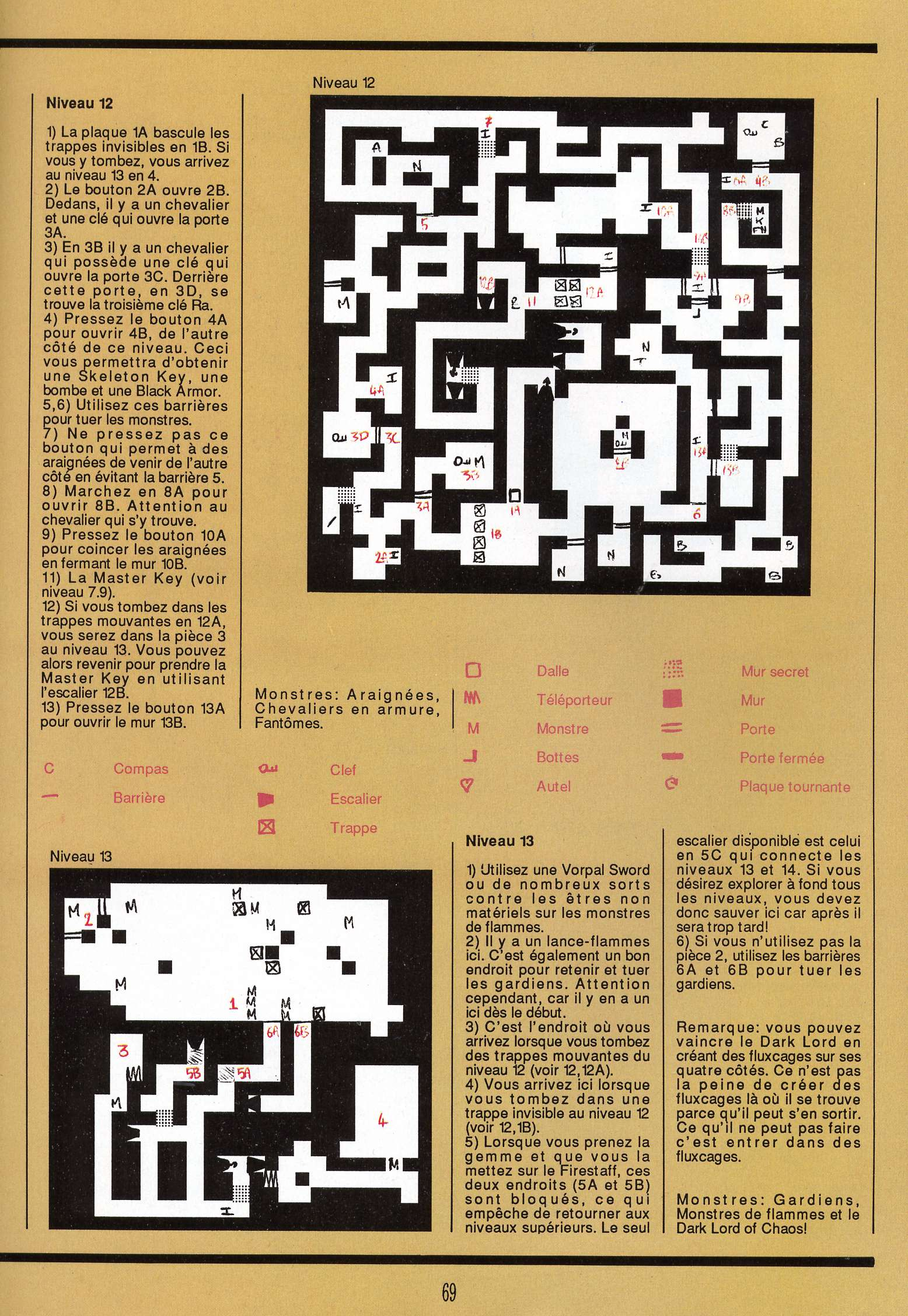 Dungeon Master for Atari ST Guide published in French magazine 'Gen4', Issue #9, March 1989, Page 69