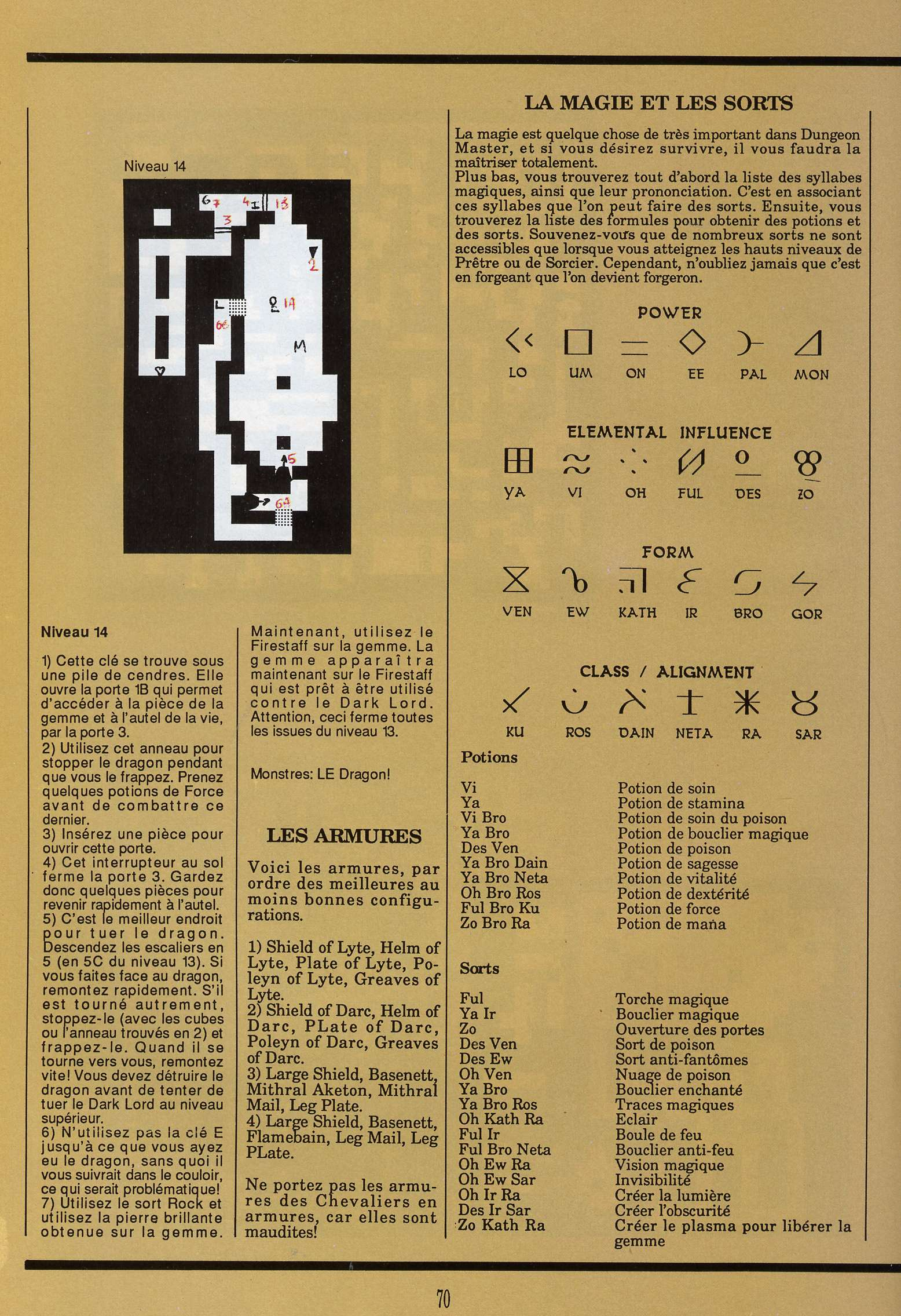 Dungeon Master for Atari ST Guide published in French magazine 'Gen4', Issue #9, March 1989, Page 70