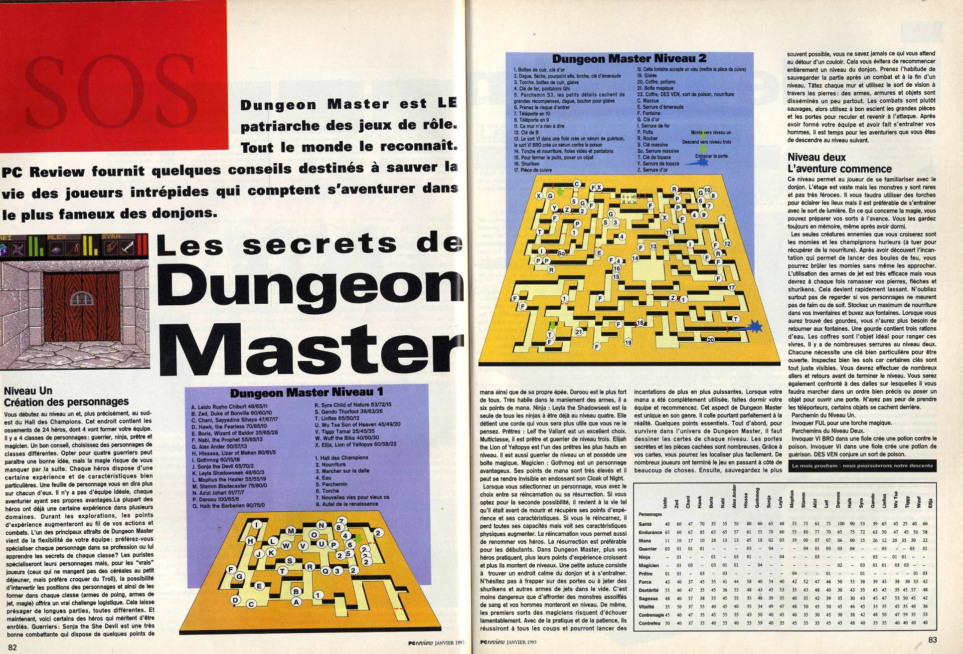 Dungeon Master Guide published in French magazine 'PC Review', Issue #4, January 1993, Pages 82-83