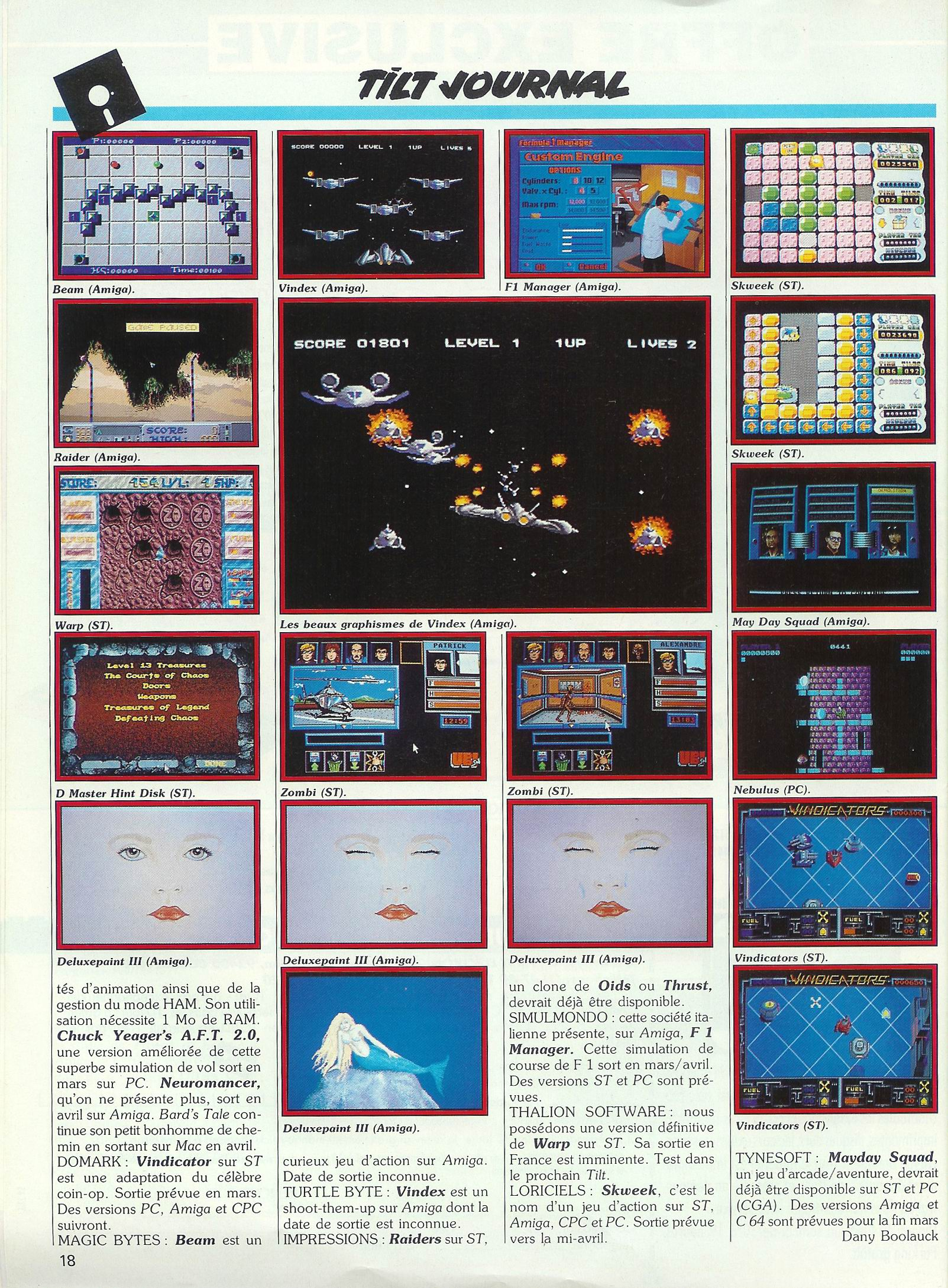 Dungeon Master Hint Disk screenshot published in French TILT Magazine #65 (April 1989) on page 18
