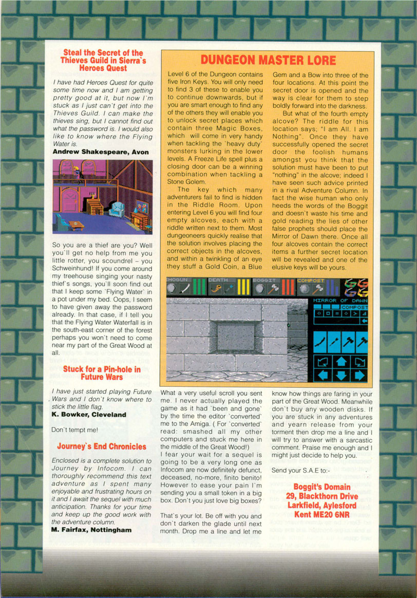 Dungeon Master Hints published in British magazine 'Amiga Action', Issue #16, January 1991, Page 20