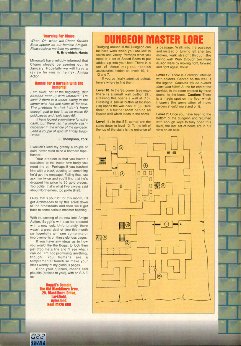 Dungeon Master Hints published in British magazine 'Amiga Action', Issue #17, February 1991, Page 22