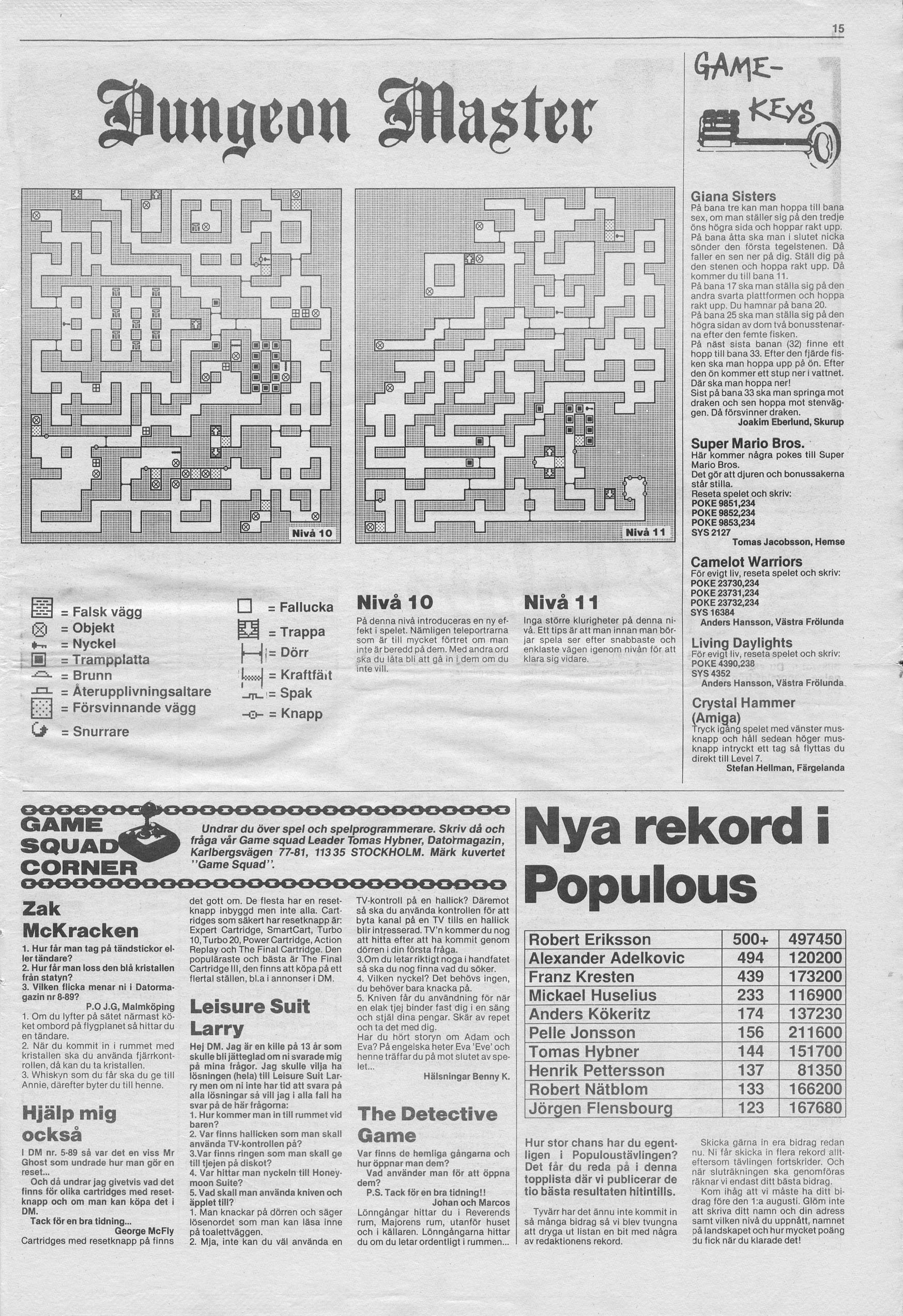 Dungeon Master Hints published in Swedish magazine 'Datormagazin', Vol. 1989 No. 10, July 1989, Page 15