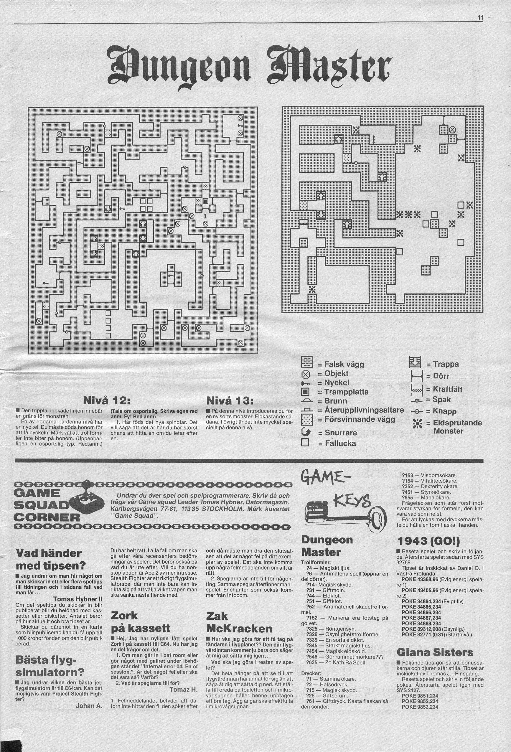 Dungeon Master Hints published in Swedish magazine 'Datormagazin', Vol. 1989 No. 11, August 1989, Page 11