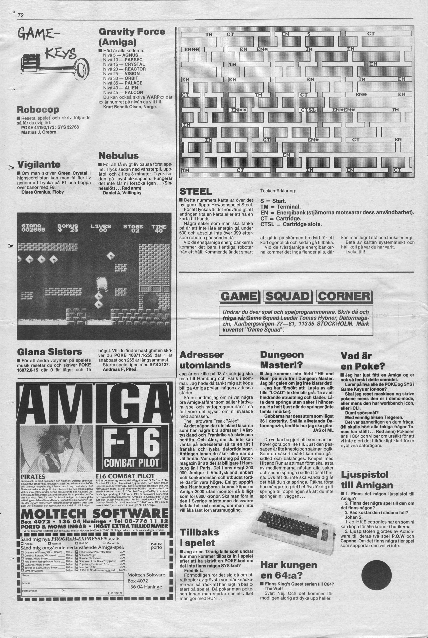 Dungeon Master Hints published in Swedish magazine 'Datormagazin', Vol. 1989 No. 16, November 1989, Page 72